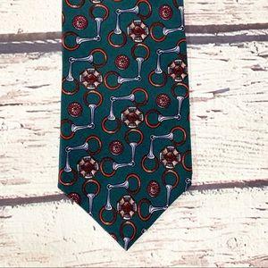 Vintage Christian Dior Monsieur Teal Silk Tie